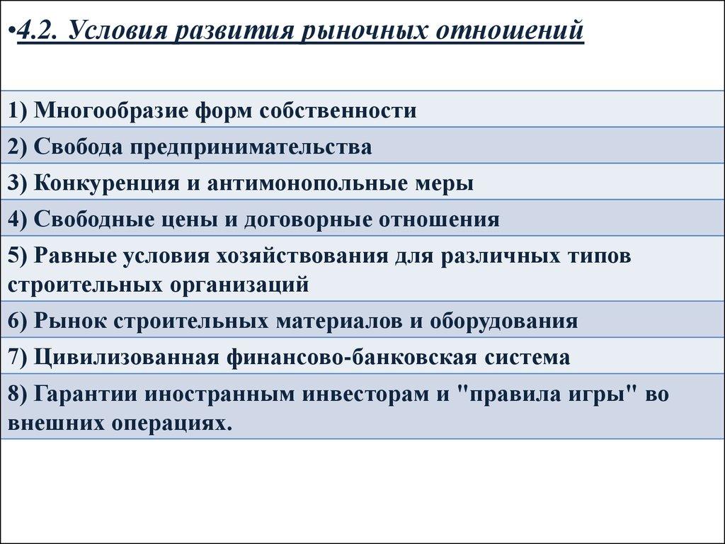 Механизмы развития рыночных отношений