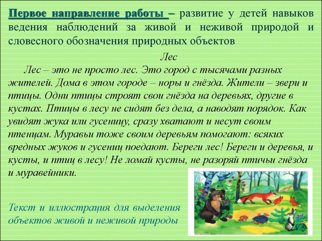 знакомство дошкольников с живой и неживой природой