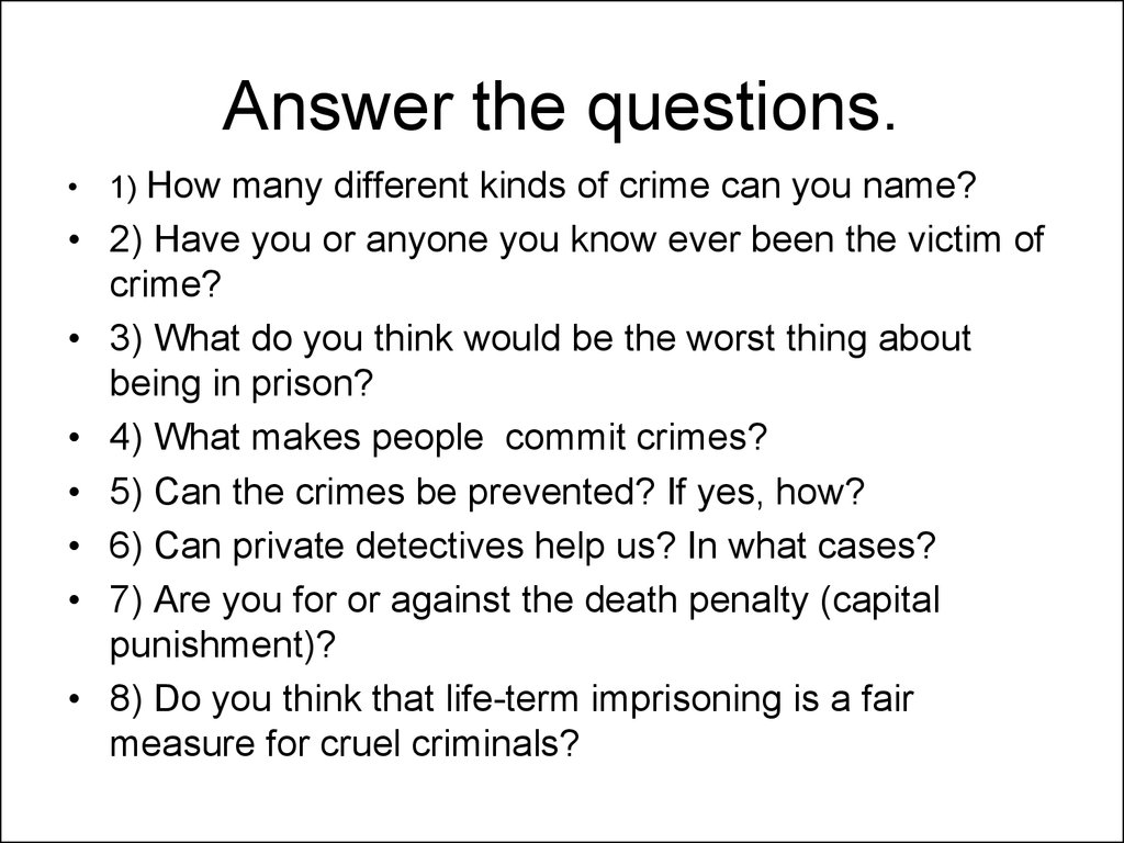 essay questions on crime and punishment This free english literature essay on essay: madness in crime and punishment is perfect for english literature students to use as an example.