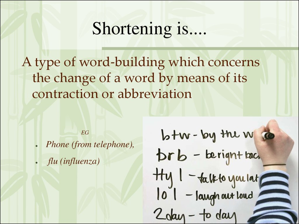 Shortening is....