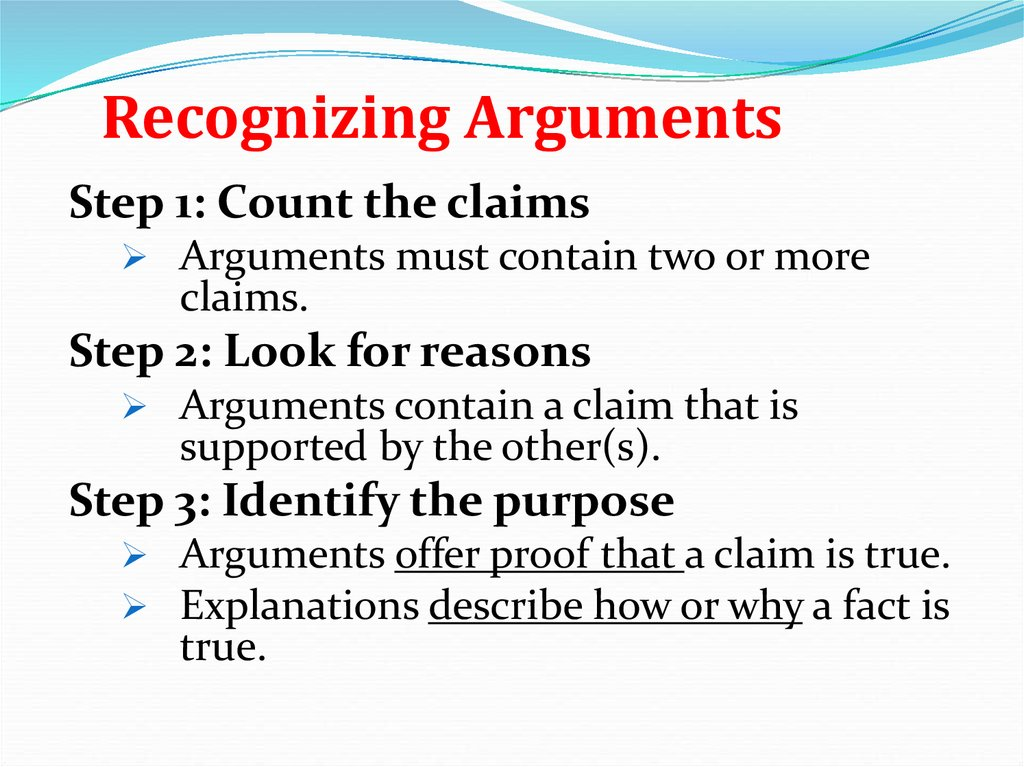recognized arguments Basic concepts slide 1 chapter 1 basic concepts 12 recognizing arguments slide 2 12 recognizing arguments arguments -must have two or more claims.