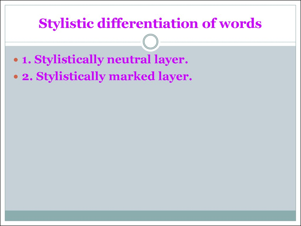 Stylistic differentiation of words