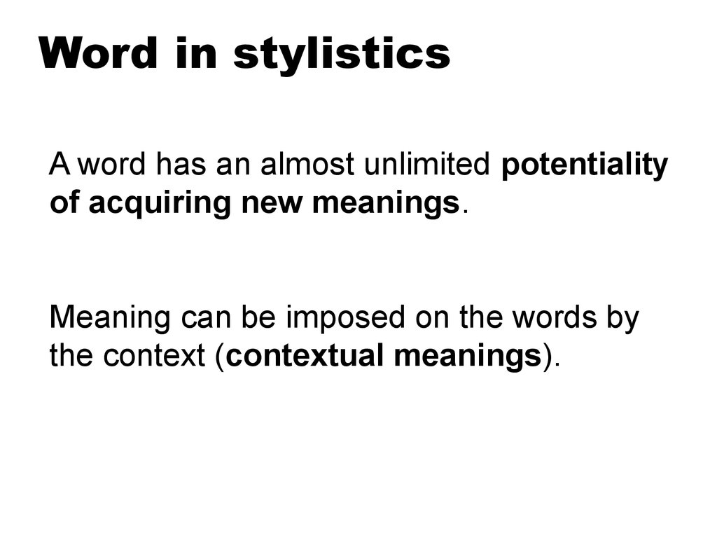 Word in stylistics