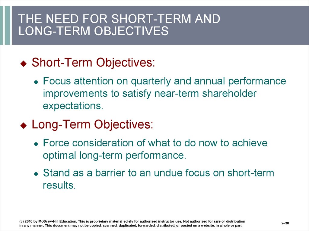 Short Term Objectives : Charting a company s direction its vision mission