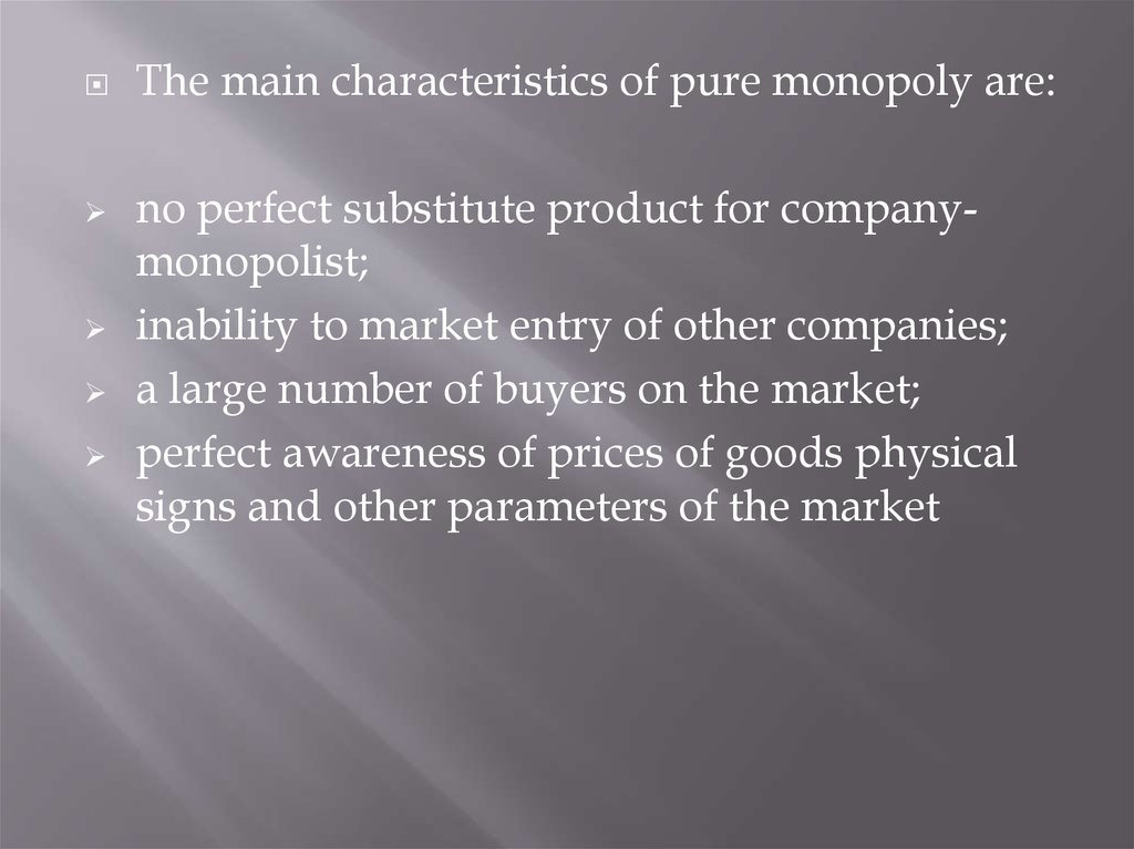 characteristics of monopoly case study Many characteristics of monopoly  competition or provide protection against  monopoly abuse  based on thirty nonrandom case studies, the following.
