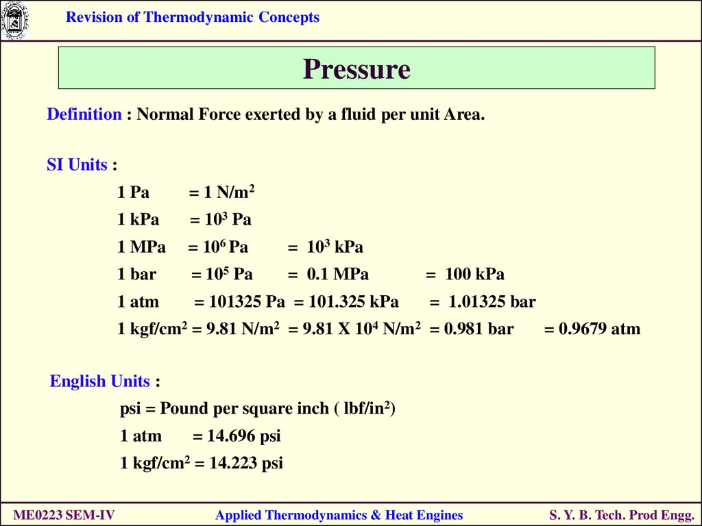 revision of thermodynamic concepts s