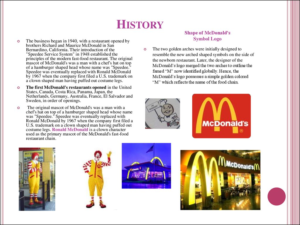 history of mcdonalds corporation Mcdonald's is america's ultimate fast-food chain — the home of the ubiquitous big mac and mcnuggets but like any other business, it had humble beginnings we made a timeline below to.