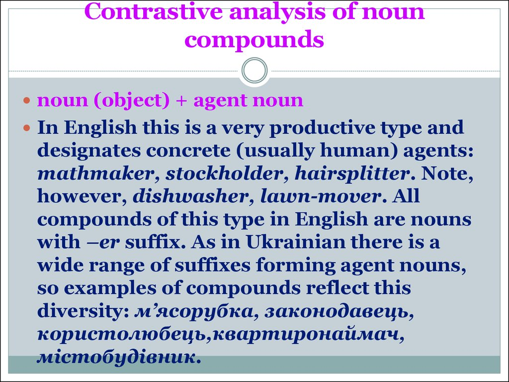 Contrastive analysis of noun compounds
