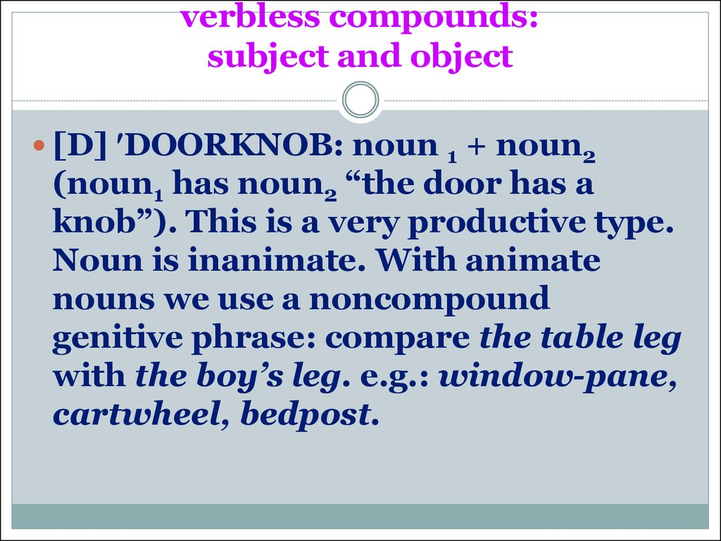 verbless compounds:  subject and object
