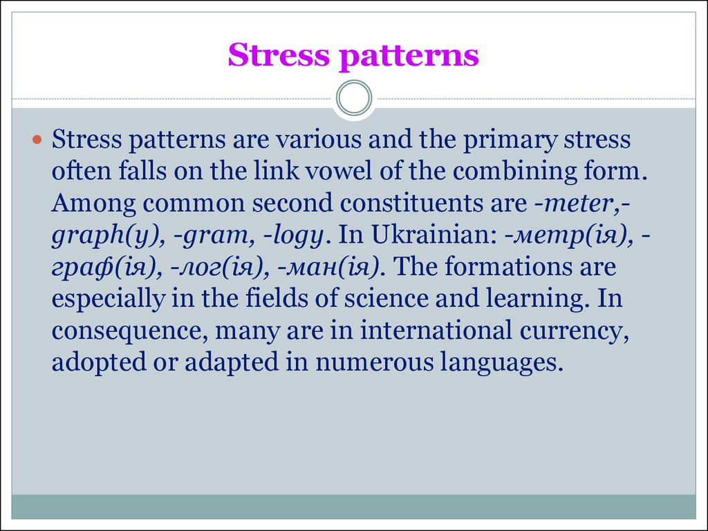 Stress patterns