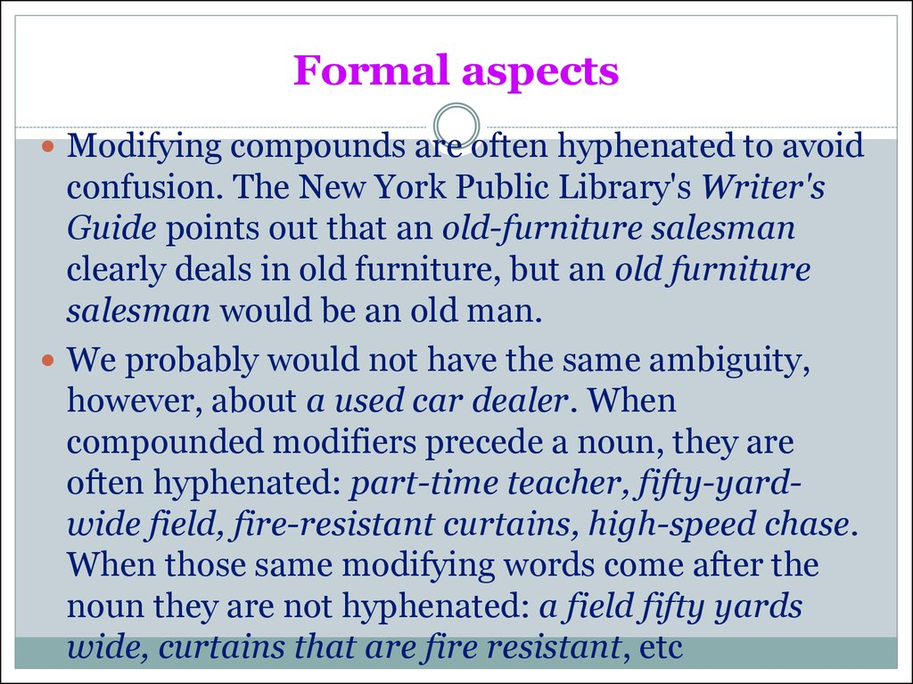 Formal aspects