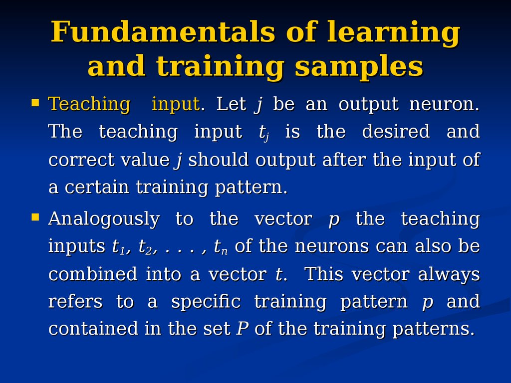 Fundamentals of learning and training samples