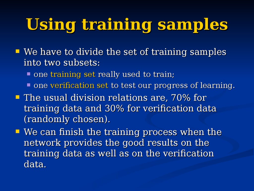 Using training samples