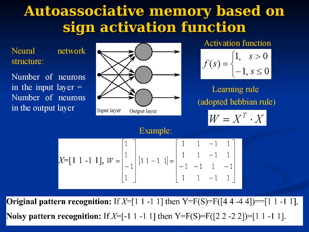 Autoassociative memory based on sign activation function
