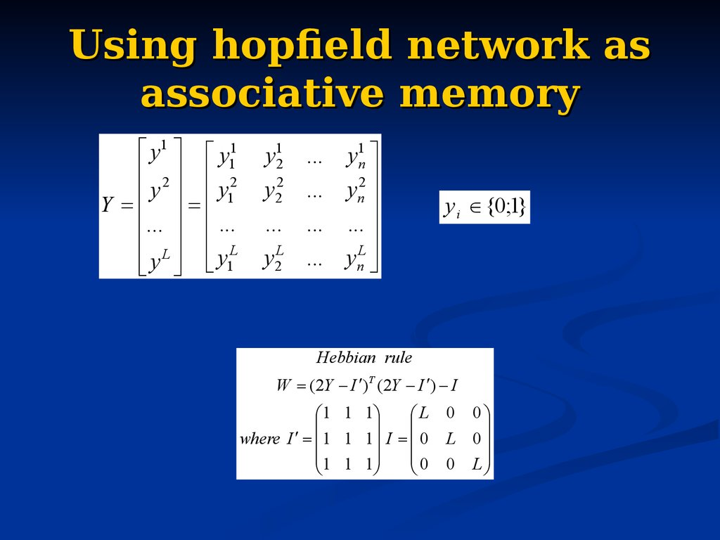 Using hopfield network as associative memory