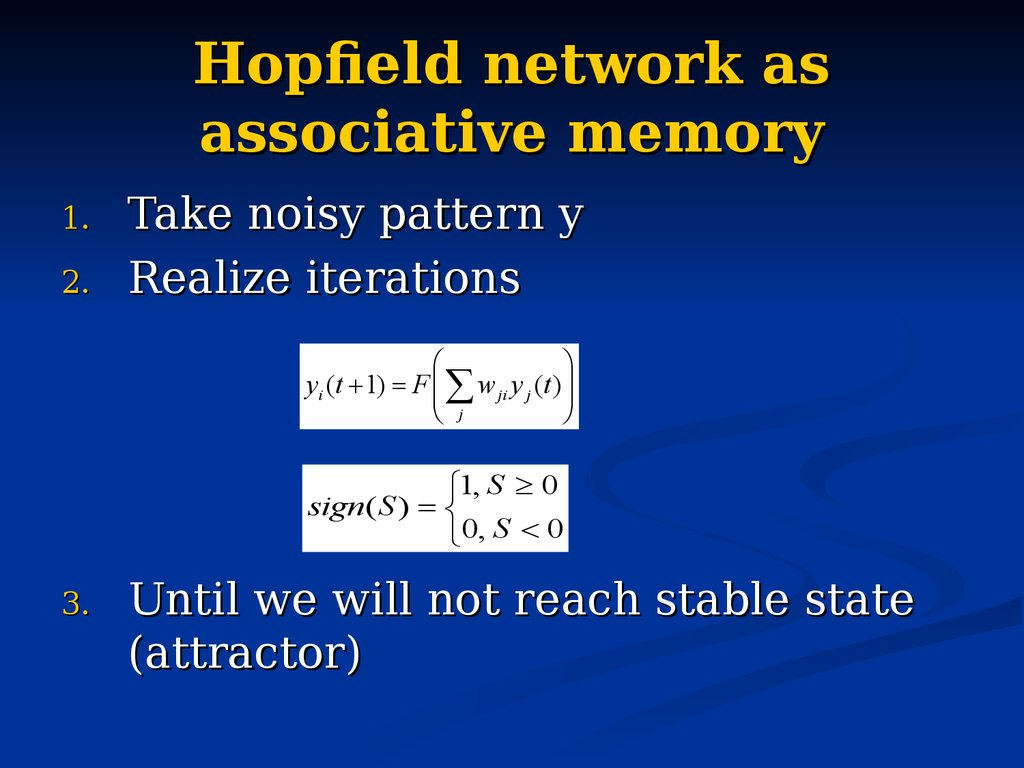 Hopfield network as associative memory