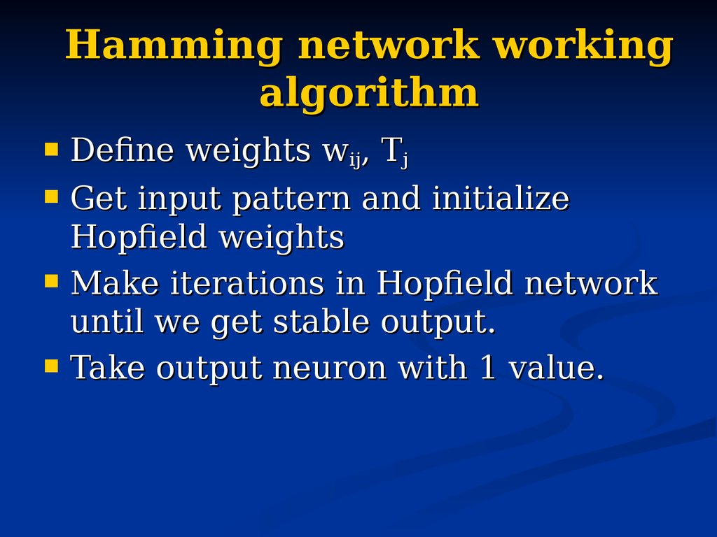 Hamming network working algorithm