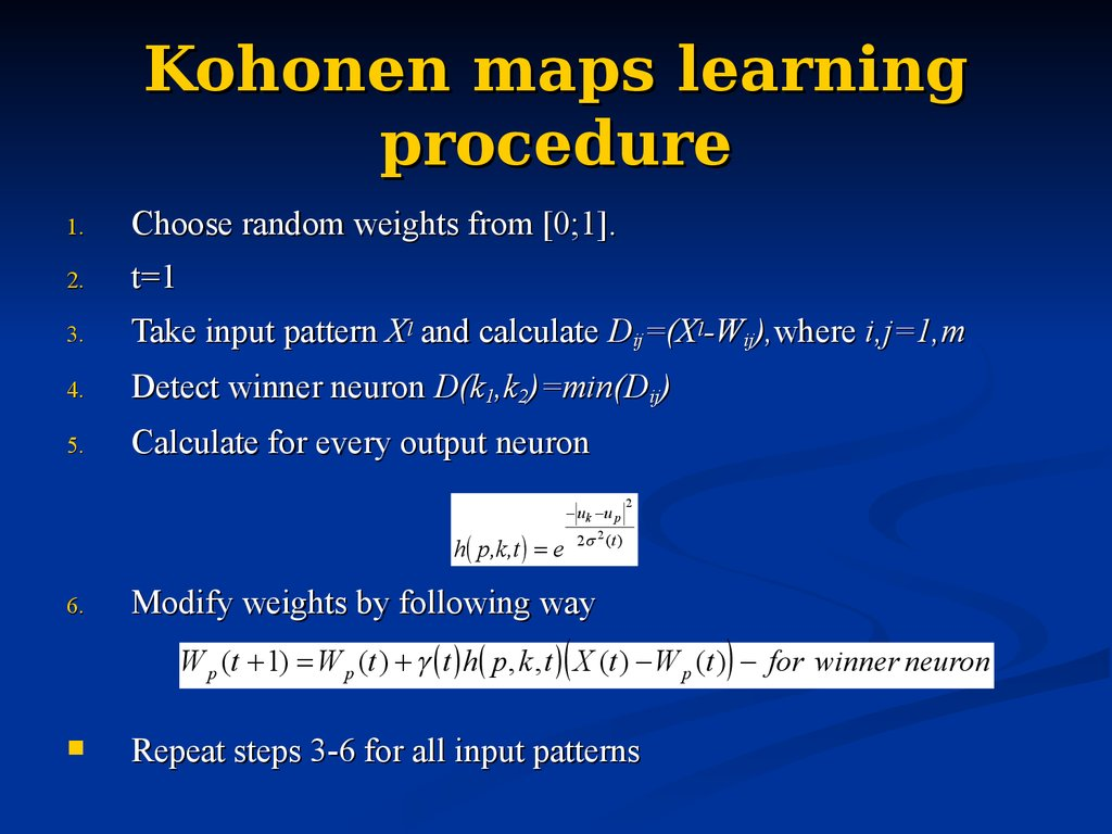 Kohonen maps learning procedure
