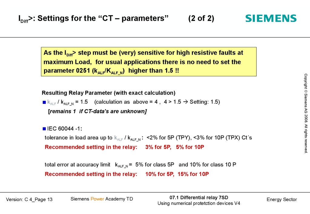 "IDiff>: Settings for the ""CT – parameters"" (2 of 2)"