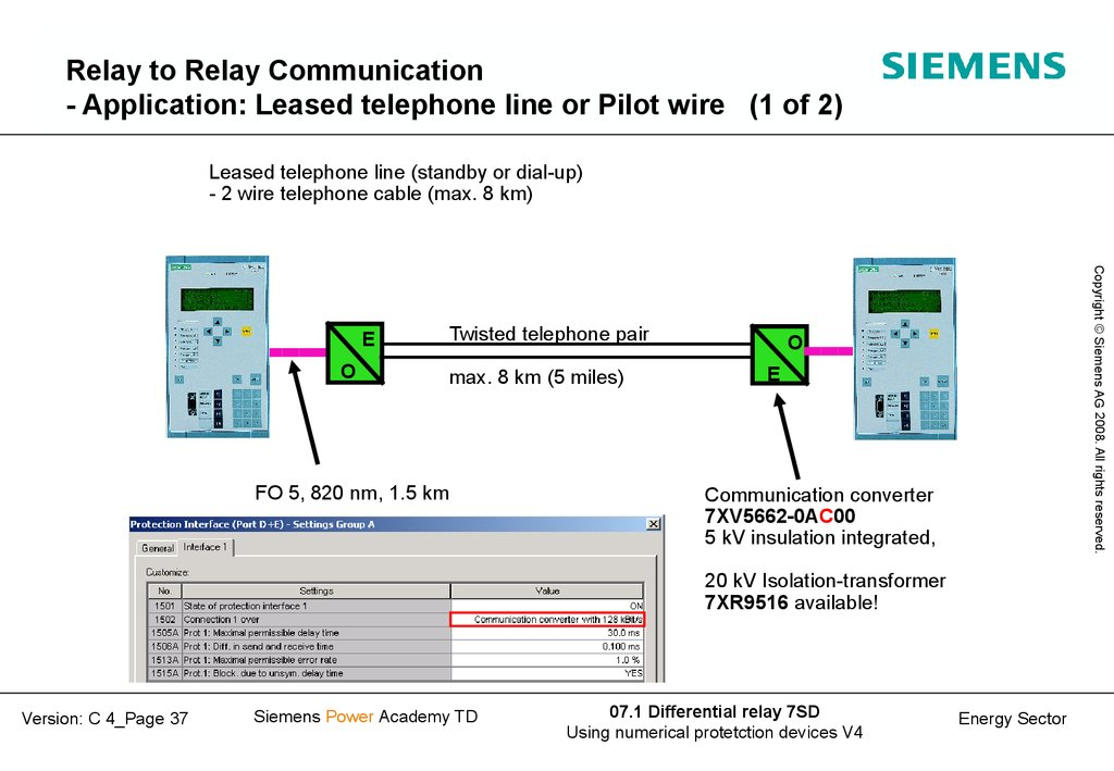 Relay to Relay Communication - Application: Leased telephone line or Pilot wire (1 of 2)