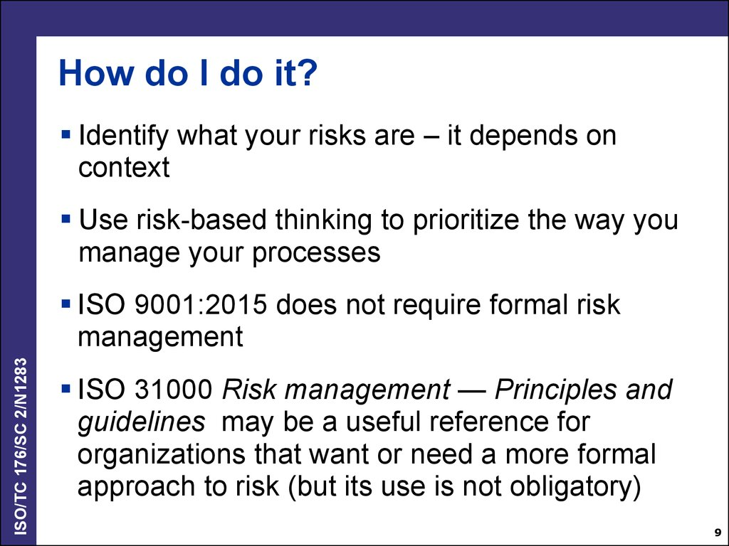 Iso 9001 2015 Risk Based Thinking Online Presentation