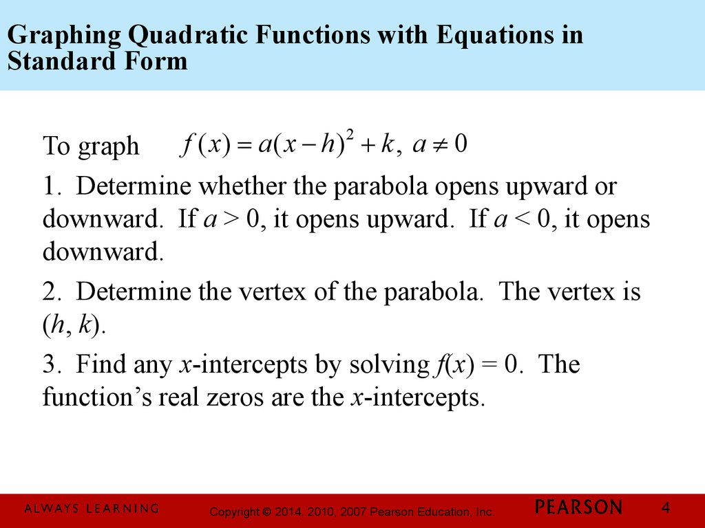 Forms & features of quadratic functions
