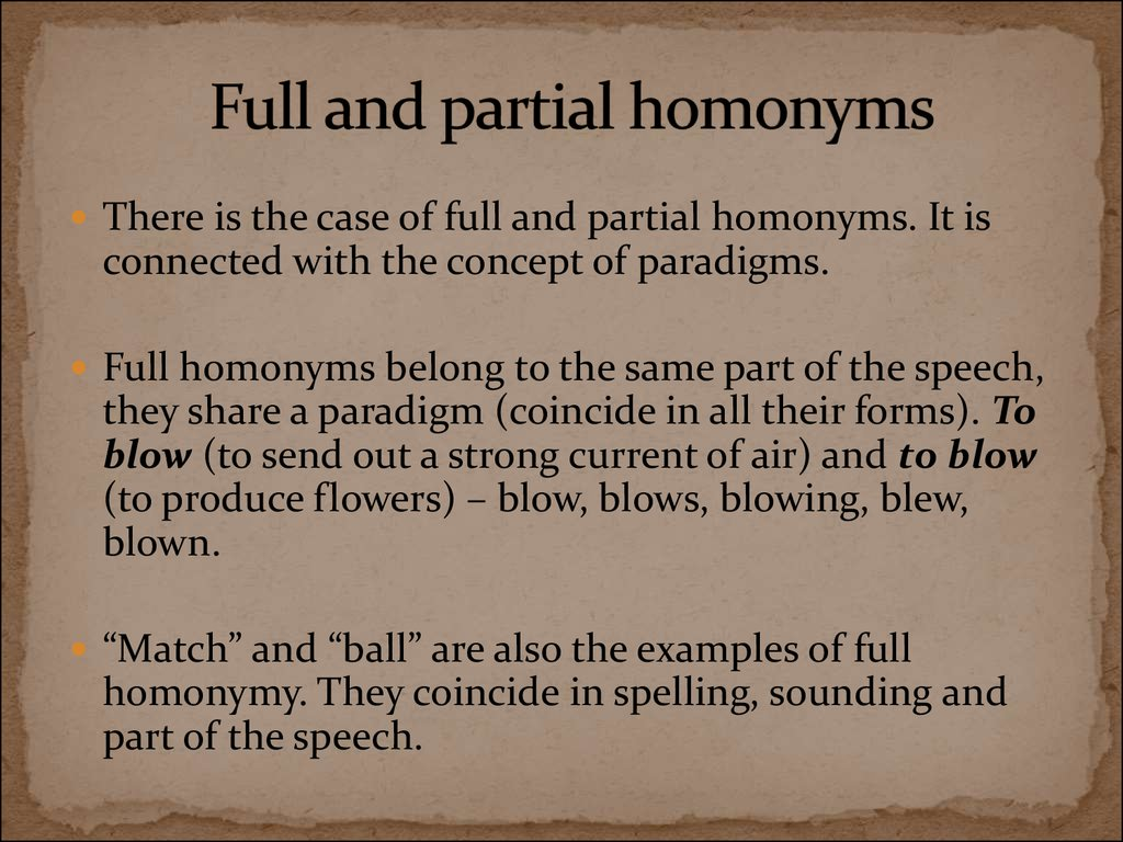 Full and partial homonyms