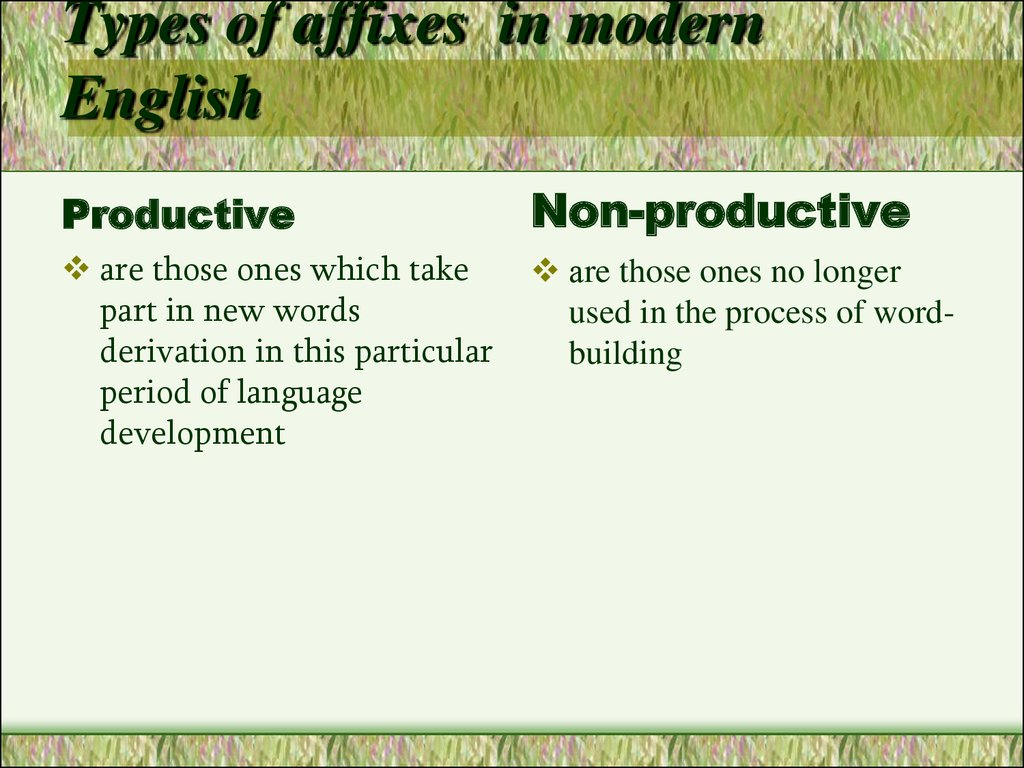 Types of affixes  in modern English