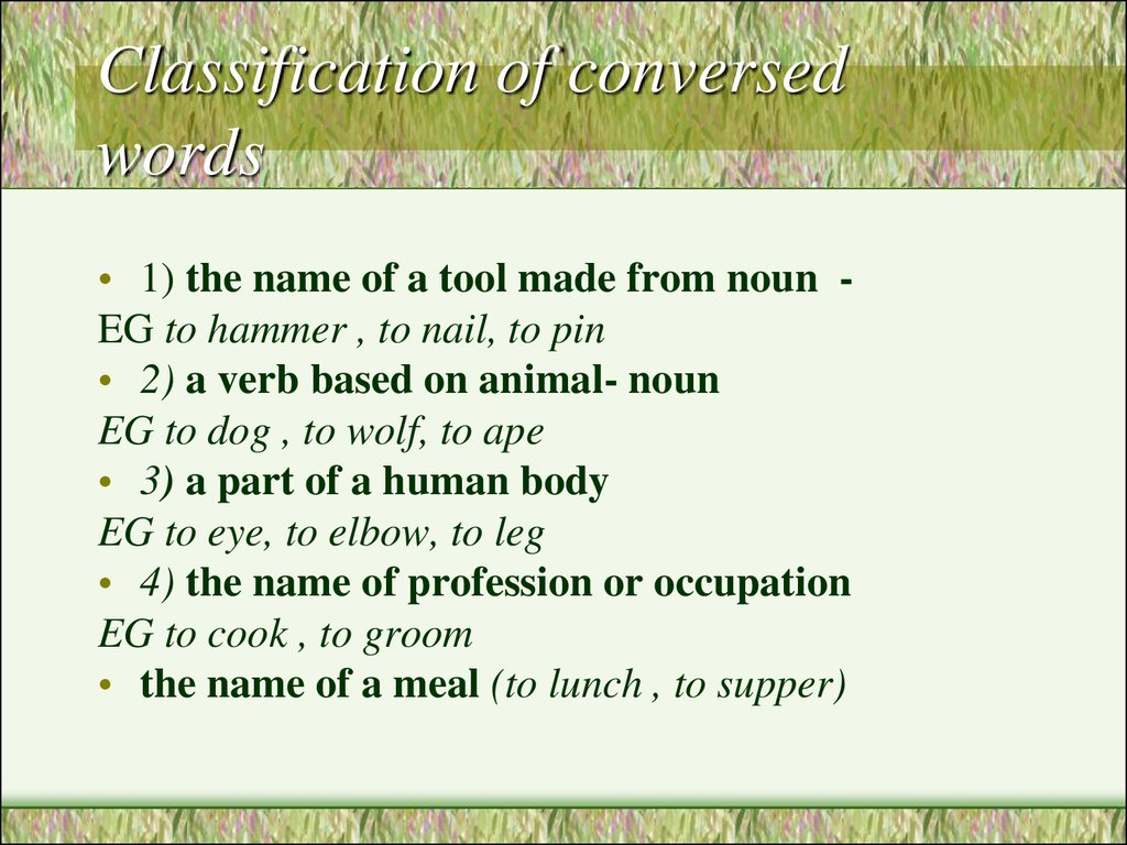 Classification of conversed words