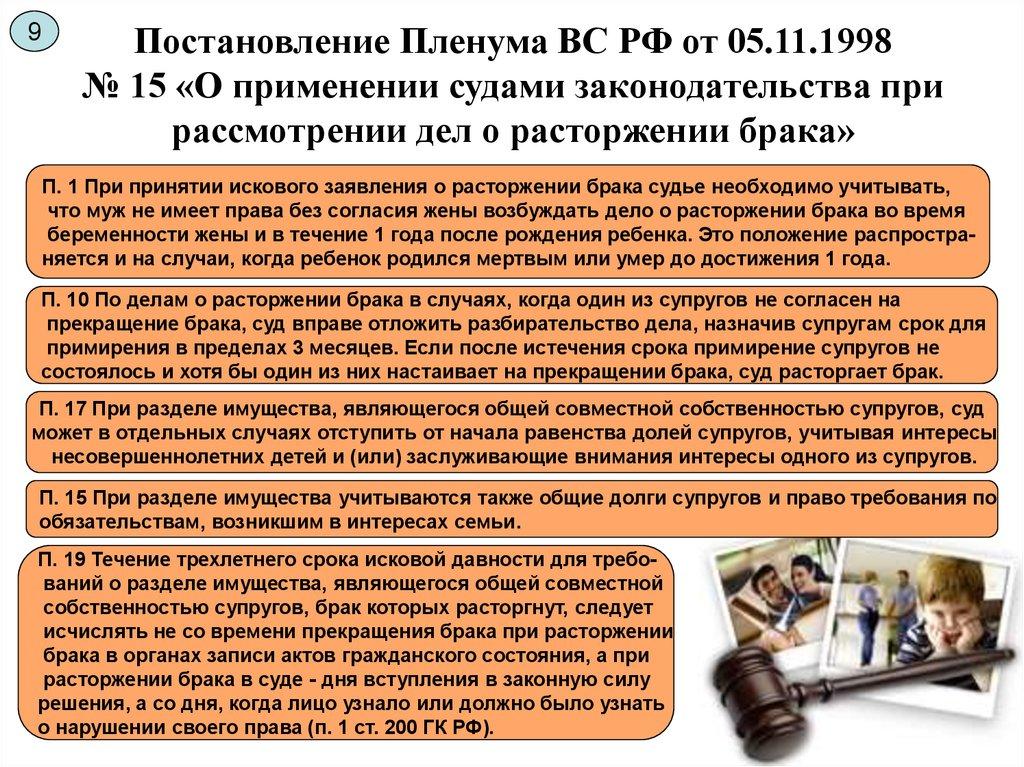 постановление пленума вс рф по делам о расторжении брака img-1