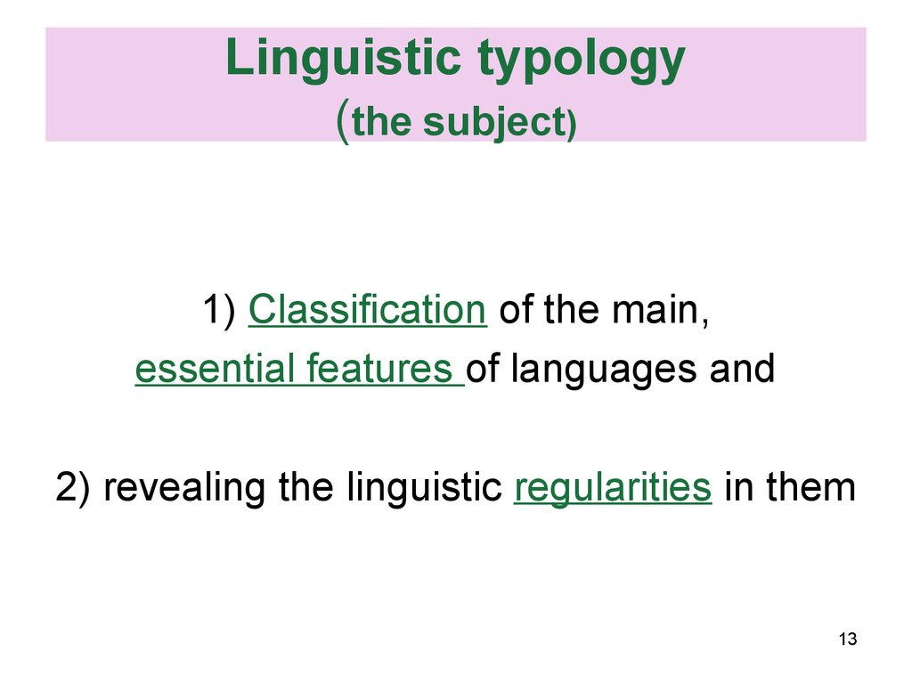 Linguistic typology (the subject)