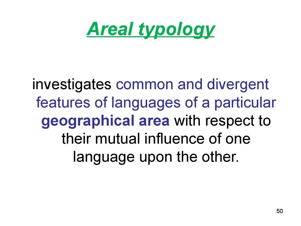 Areal typology