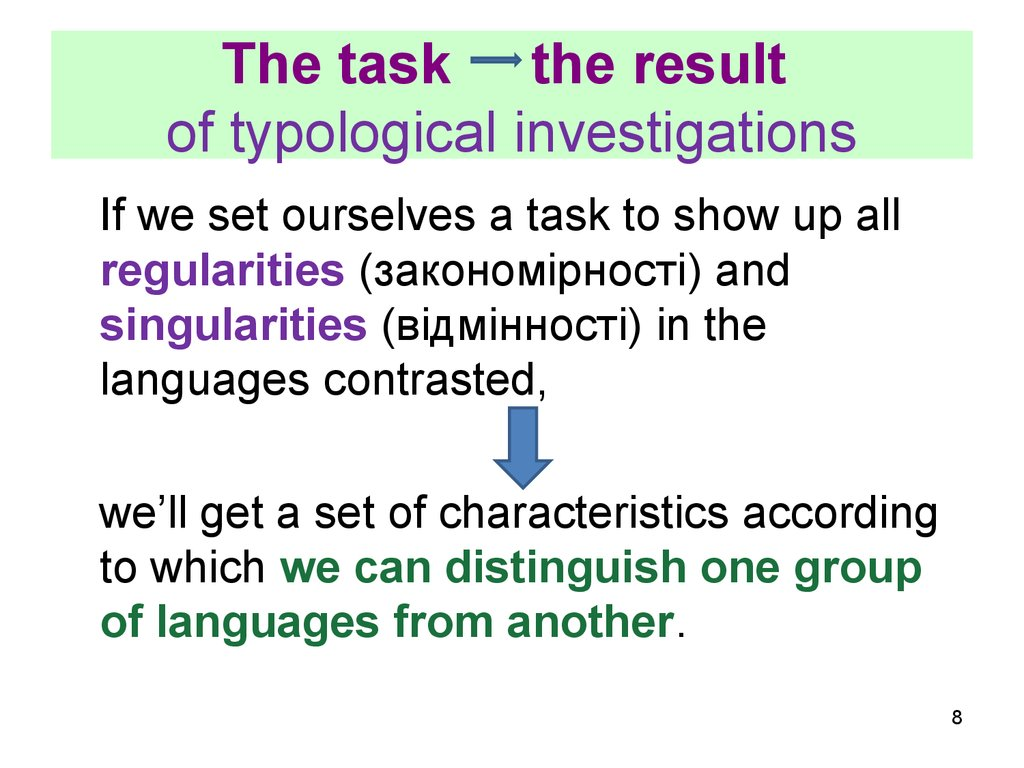 The task the result of typological investigations