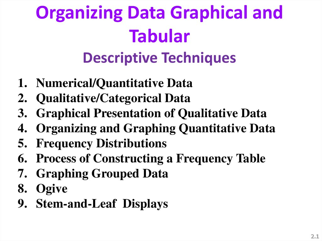 descriptive statistics tabular and graphical presentations A frequency distribution is a tabular summary of data showing the frequency (or number) of items in each of several nonoverlapping classes the objective is to.