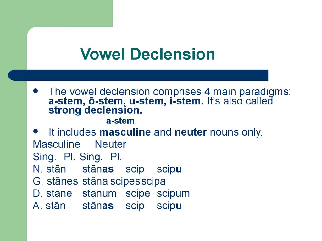 Vowel Declension