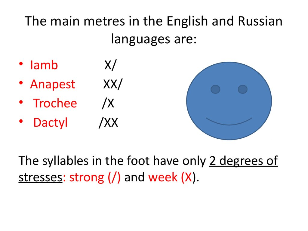 The main metres in the English and Russian languages are: