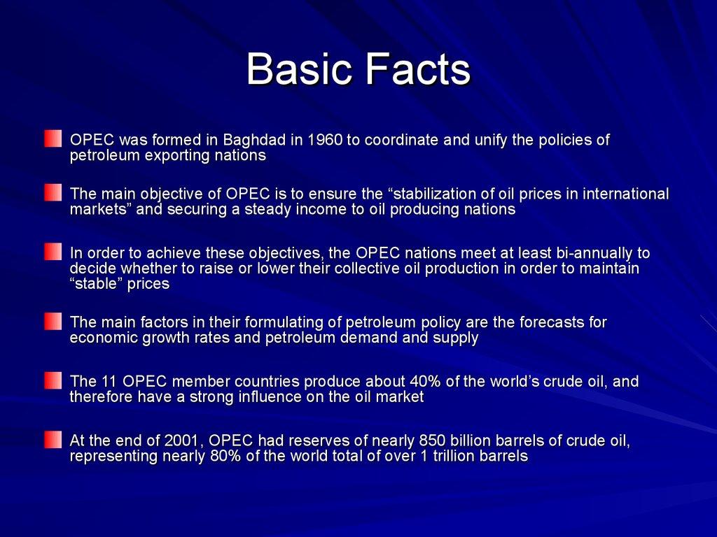 Opec Outline Basic Facts презентация онлайн