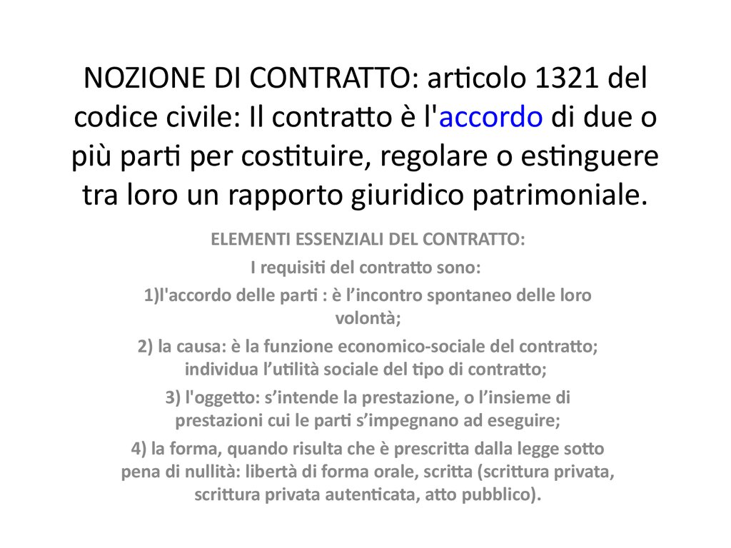 Nozione di contratto elementi essenziali contratti for Contratto 3 2