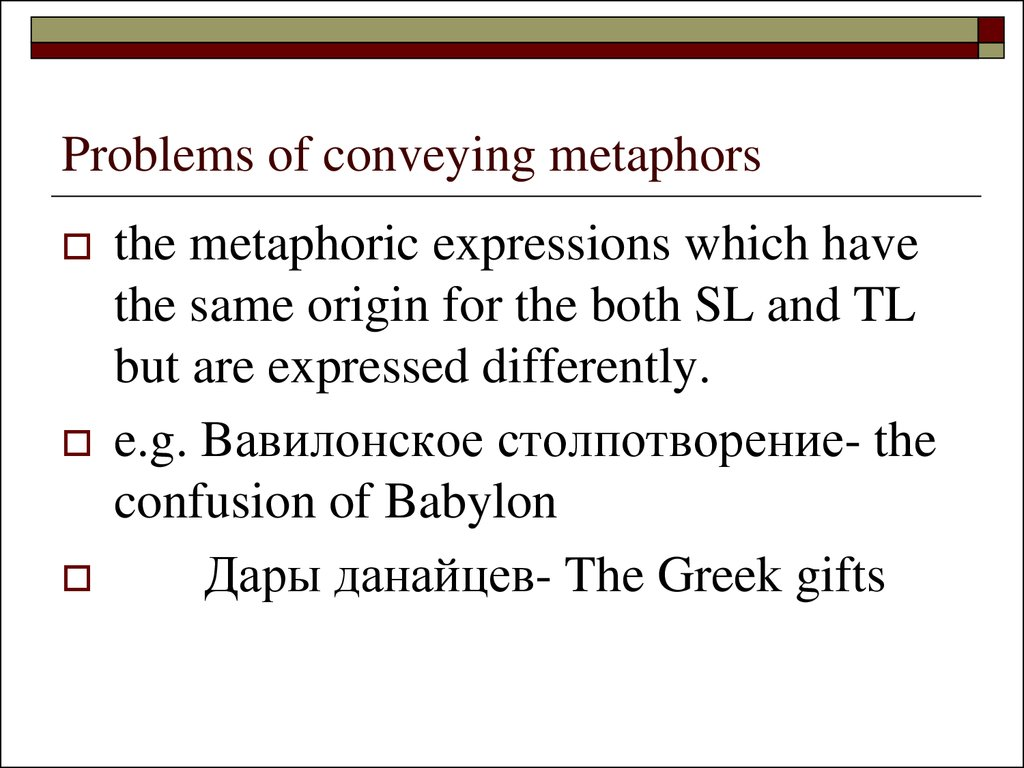 Problems of conveying metaphors