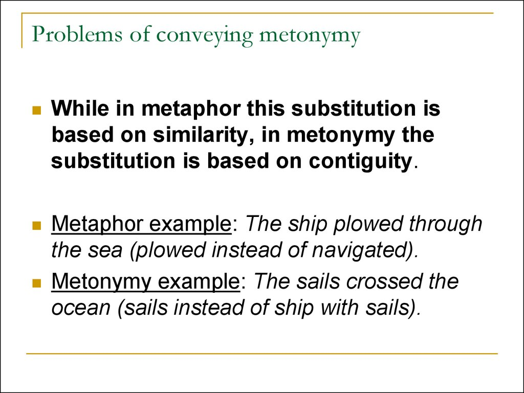 Problems of conveying metonymy