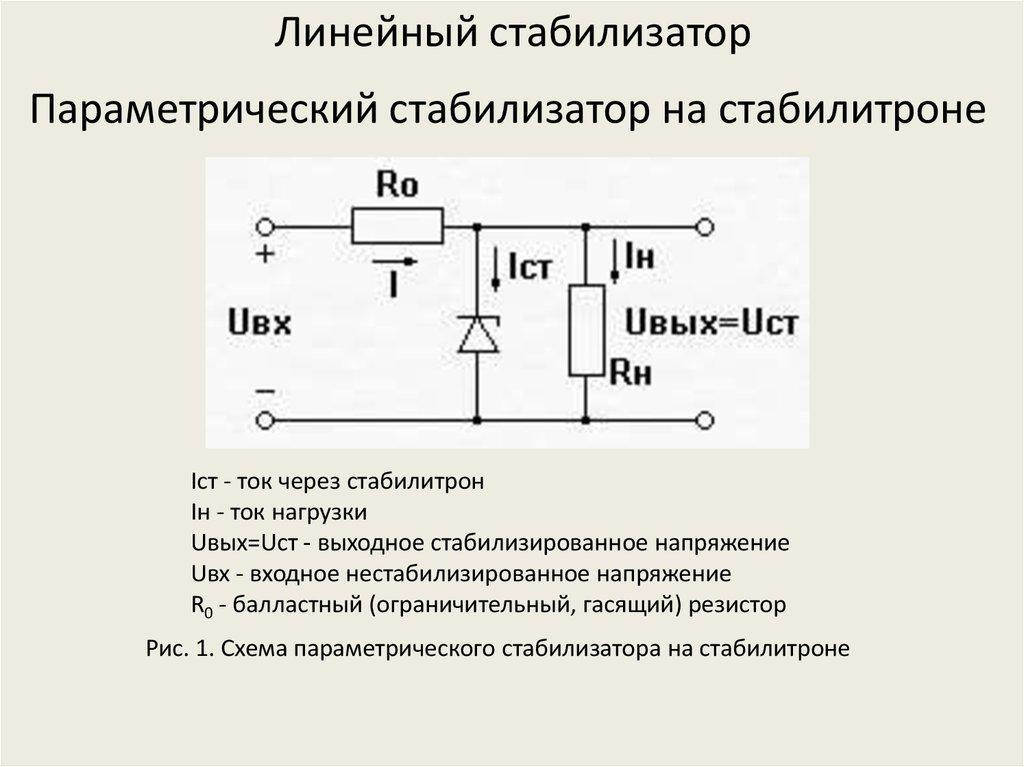 Схема параметрического стабилизатора напряжения. принцип его работы