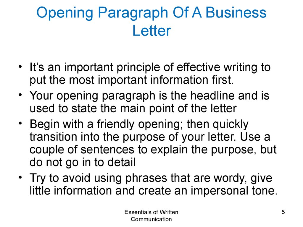 Principles Of Written Communication