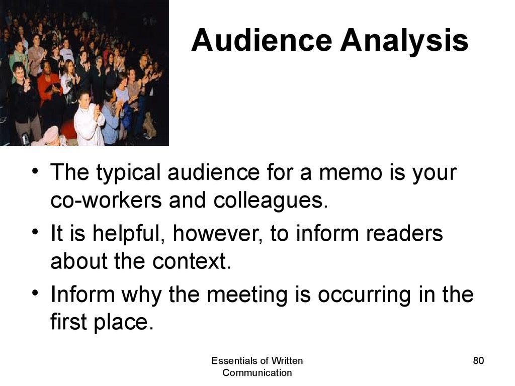 """audience analysis in business communication Business communication is information  effective communication by business managers  rather than thinking of the audience as just """"someone."""