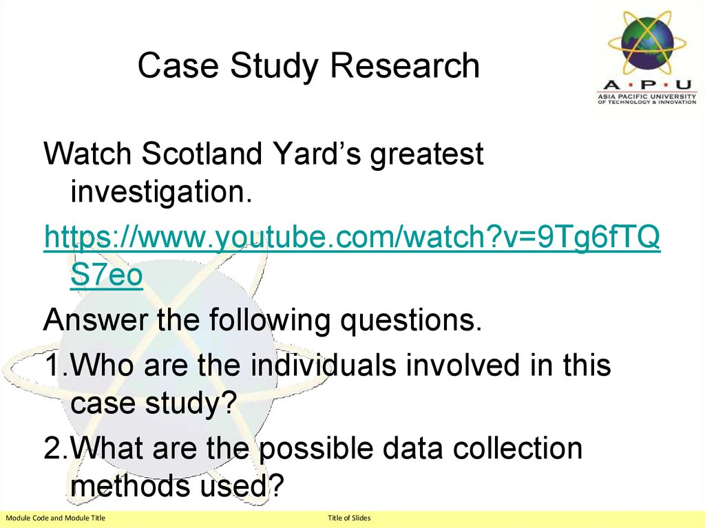 research methodology case study with solution The Case Study as a Research Method