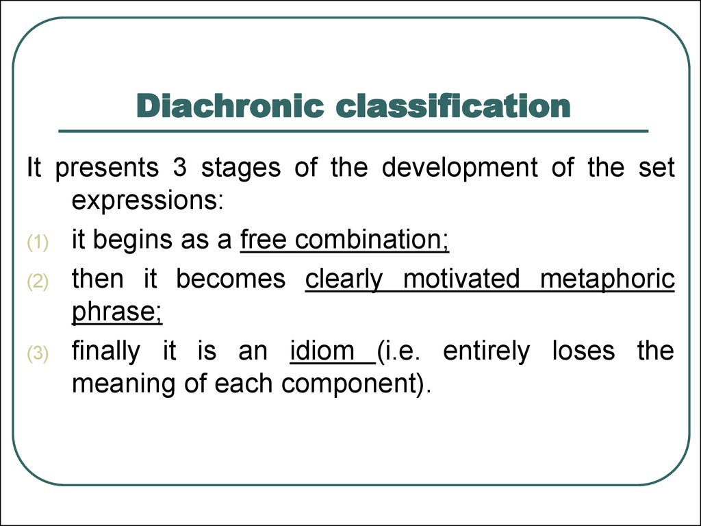 Diachronic classification