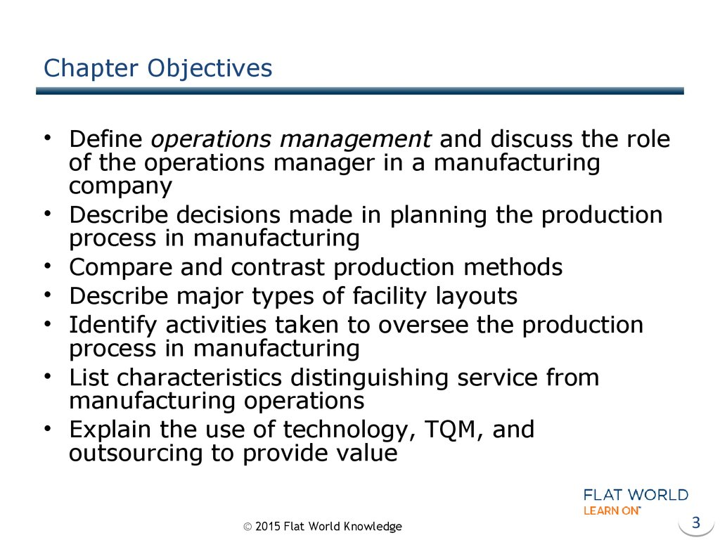 operations management in manufacturing and service