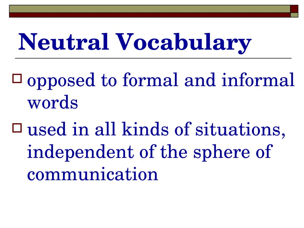 Neutral Vocabulary
