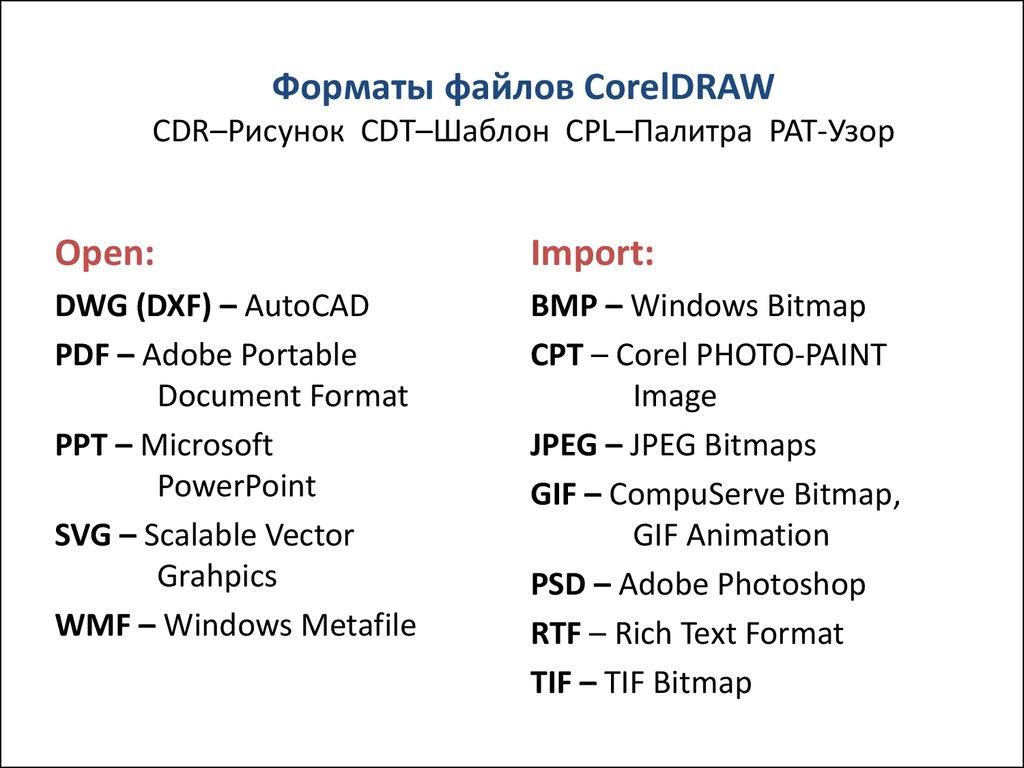 corel шаблон меню