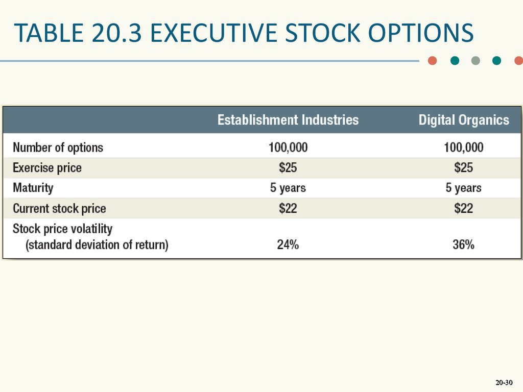 Ceo stock options definition