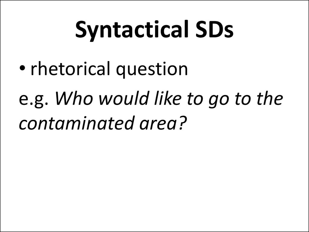 Syntactical SDs